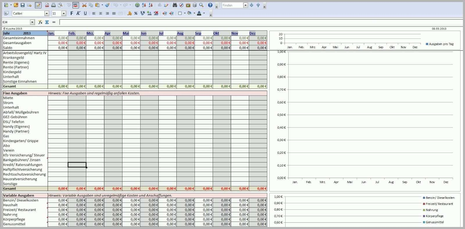 Atemberaubend Haushaltsbuch Excel Vorlage Kostenlos 2014