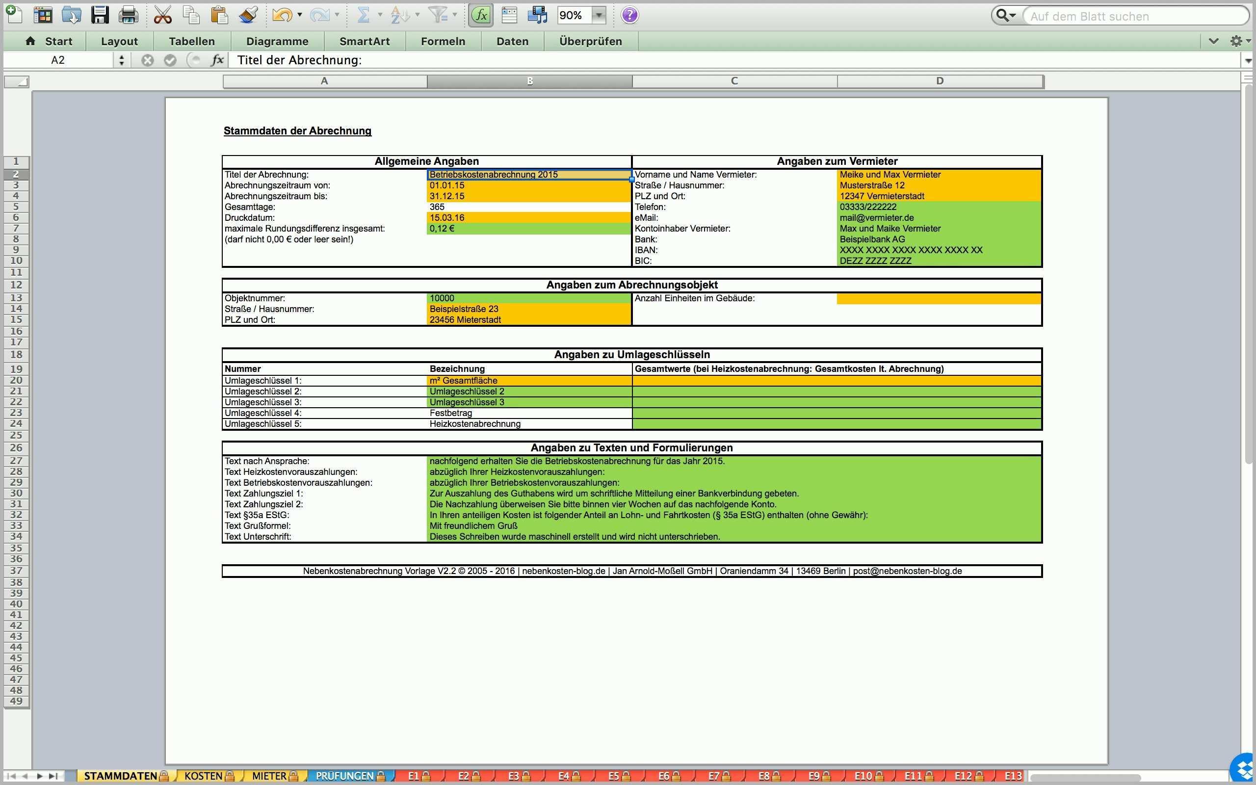Einzigartig Nebenkostenabrechnung Excel Vorlage Download ...