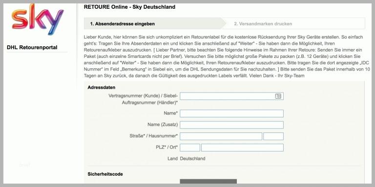 Sky Receiver Zurückschicken Frist