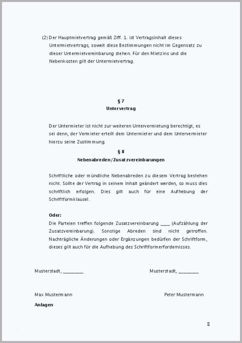 Zusatzvereinbarung